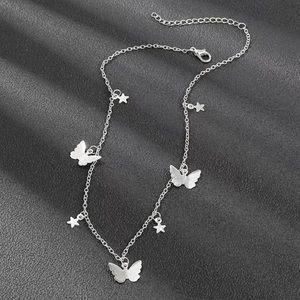 choker | butterfly + stars silver necklace